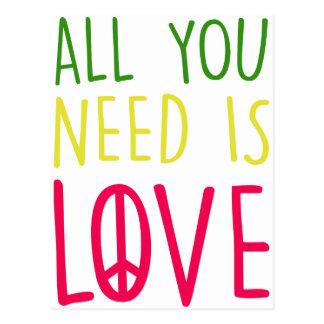 All You Need Is Love Fun Rasta Peace Sign Graphic Postcard