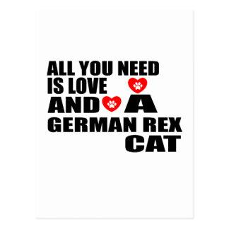 ALL YOU NEED IS LOVE GERMAN REX CAT DESIGNS POSTCARD