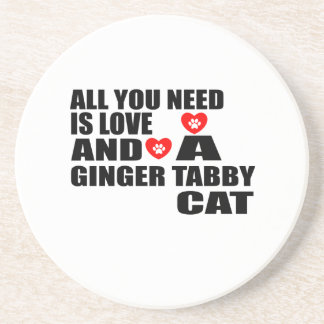 ALL YOU NEED IS LOVE GINGER TABBY CAT DESIGNS COASTER