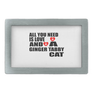 ALL YOU NEED IS LOVE GINGER TABBY CAT DESIGNS RECTANGULAR BELT BUCKLES