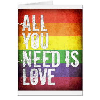 All You Need Is Love (grunge rainbow pattern) Card