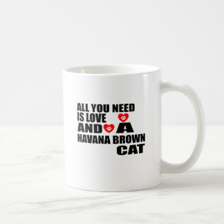 ALL YOU NEED IS LOVE HAVANA BROWN CAT DESIGNS COFFEE MUG