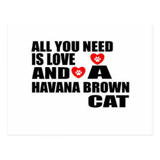ALL YOU NEED IS LOVE HAVANA BROWN CAT DESIGNS POSTCARD