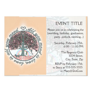 """All You Need is Love 5"""" X 7"""" Invitation Card"""