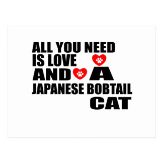 ALL YOU NEED IS LOVE JAPANESE BOBTAIL  CAT DESIGNS POSTCARD