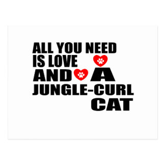 ALL YOU NEED IS LOVE JUNGLE-CURL CAT DESIGNS POSTCARD