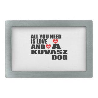 ALL YOU NEED IS LOVE KUVASZ DOGS DESIGNS RECTANGULAR BELT BUCKLE