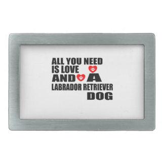 ALL YOU NEED IS LOVE LABRADOR RETRIEVER DOGS DESIG RECTANGULAR BELT BUCKLE