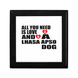 ALL YOU NEED IS LOVE LHASA APSO DOGS DESIGNS GIFT BOX