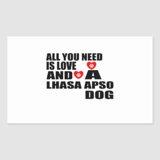 ALL YOU NEED IS LOVE LHASA APSO DOGS DESIGNS STICKER