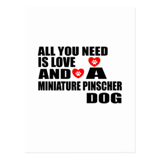 ALL YOU NEED IS LOVE MINIATURE PINSCHER DOGS DESIG POSTCARD