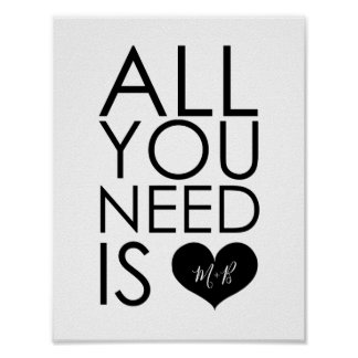 All You Need Is Love Monogram Wedding Poster