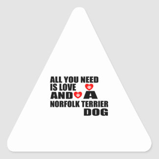 ALL YOU NEED IS LOVE NORFOLK TERRIER DOGS DESIGNS TRIANGLE STICKER