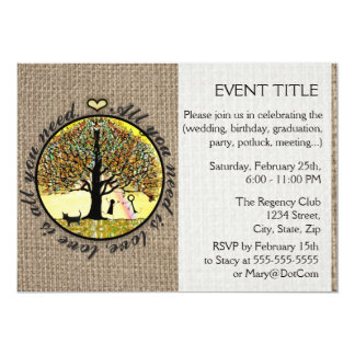 "All You Need is Love on Burlap 5"" X 7"" Invitation Card"