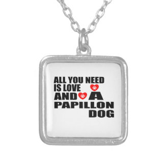 ALL YOU NEED IS LOVE PAPILLON DOGS DESIGNS SILVER PLATED NECKLACE