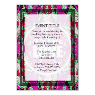 """All You Need is Love Pattern with Peace Symbol 4.5"""" X 6.25"""" Invitation Card"""