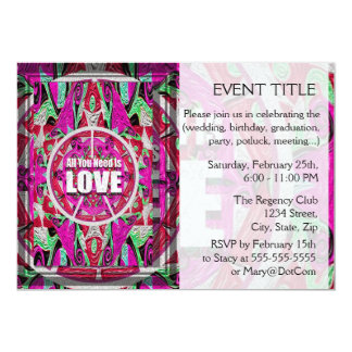 "All You Need is Love Pattern with Peace Symbol 5"" X 7"" Invitation Card"