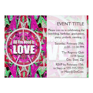 """All You Need is Love Pattern with Peace Symbol 6.5"""" X 8.75"""" Invitation Card"""