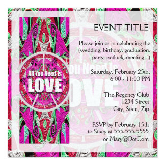 """All You Need is Love Pattern with Peace Symbol 5.25"""" Square Invitation Card"""