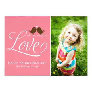 """All You Need Is Love {pink} 5"""" X 7"""" Invitation Card"""