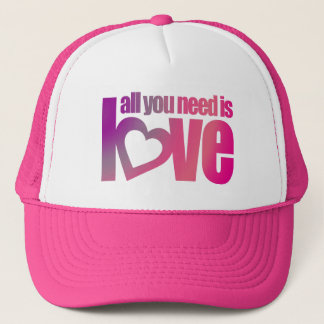 """all you need is love"" pink purple hat / cap"