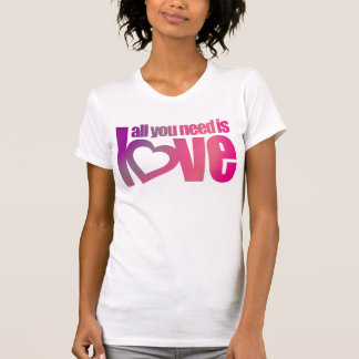 All you need is love pink purple heart text top