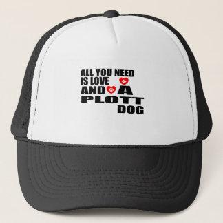 ALL YOU NEED IS LOVE PLOTT DOGS DESIGNS TRUCKER HAT