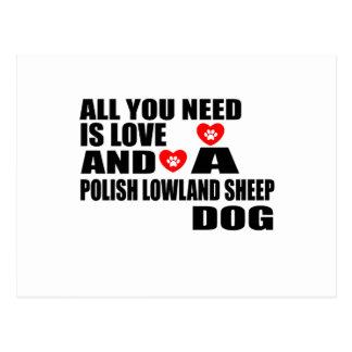 ALL YOU NEED IS LOVE POLISH LOWLAND SHEEPDOG DESIG POSTCARD