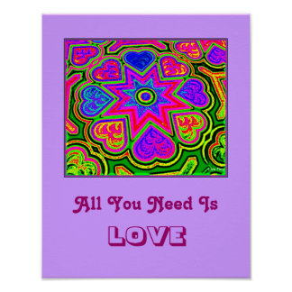 'All You Need Is Love'  Poster (Purple)