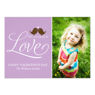 """All You Need Is Love {purple} 5"""" X 7"""" Invitation Card"""