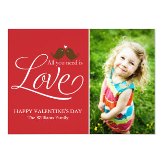 """All You Need Is Love {red} 5"""" X 7"""" Invitation Card"""