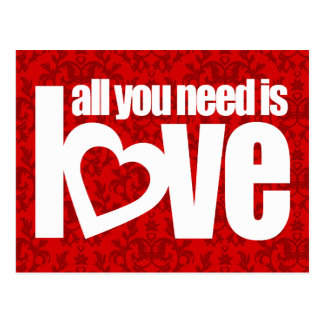 """all you need is love"" red white slogan postcard"
