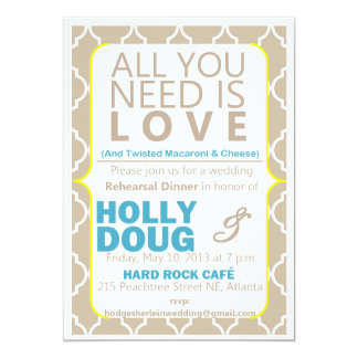 All you need is love  Rehearsal Dinner Invitation