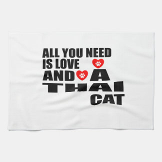 ALL YOU NEED IS LOVE THAI CAT DESIGNS KITCHEN TOWEL