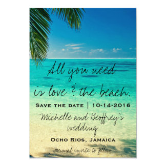 "All You Need Is Love & The Beach Save the Date 5"" X 7"" Invitation Card"
