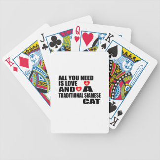 ALL YOU NEED IS LOVE TRADITIONAL SIAMESE CAT DESIG BICYCLE PLAYING CARDS
