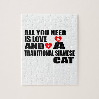 ALL YOU NEED IS LOVE TRADITIONAL SIAMESE CAT DESIG JIGSAW PUZZLE