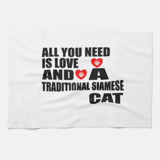 ALL YOU NEED IS LOVE TRADITIONAL SIAMESE CAT DESIG KITCHEN TOWEL