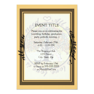 "All you need is love tree of life with rainbow. 5"" x 7"" invitation card"