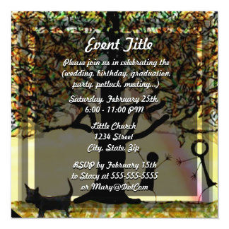 """All you need is love tree of life with rainbow. 5.25"""" square invitation card"""