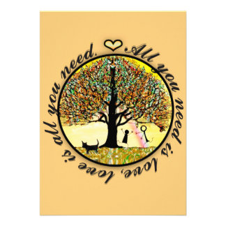 All you need is love tree of life with rainbow personalized invite