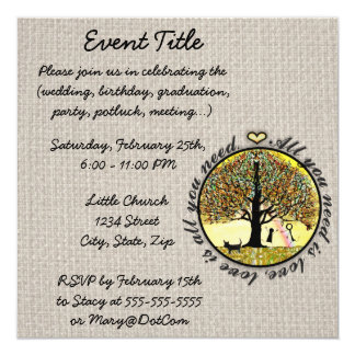 All you need is love tree of life with rainbow. 5.25x5.25 square paper invitation card