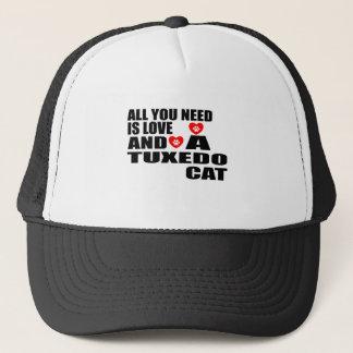 ALL YOU NEED IS LOVE TUXEDO CAT DESIGNS TRUCKER HAT