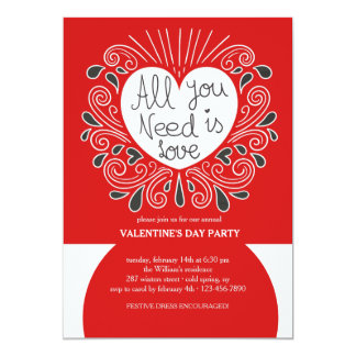 All You Need Is Love Valentine's Day Invitation