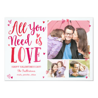 "All You Need Is Love Valentine's Day Photo Cards 5"" X 7"" Invitation Card"