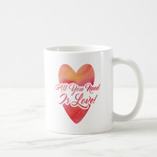 All You Need Is Love Watercolor Design Coffee Mug
