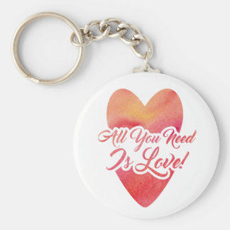 All You Need Is Love Watercolor Design Keychain