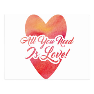 All You Need Is Love Watercolor Design Postcard