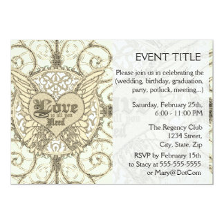 "All You Need is Love with Angel Wings & Heart 5"" X 7"" Invitation Card"
