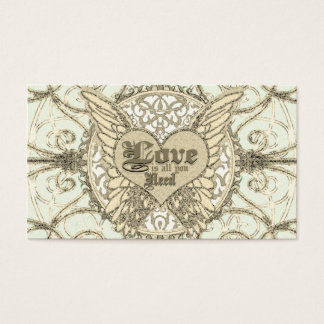 All You Need is Love with Angel Wings & Heart Business Card